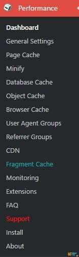 W3 Total Cache меню