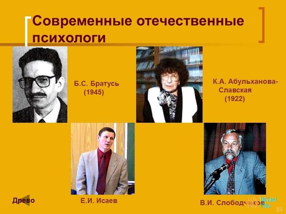 Современные отечественные психологи